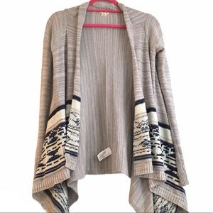 southwestern tribal waterfall open boho cardigan